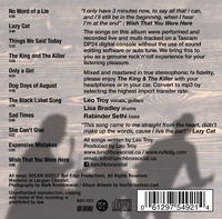The King &The Killer back cover by Lunchbox Social